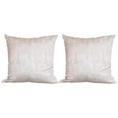 Pair of Modernist Striated and Tufted Gray Pillows
