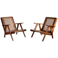 Pair of Modernist Teak Armchairs, Congo, 1950