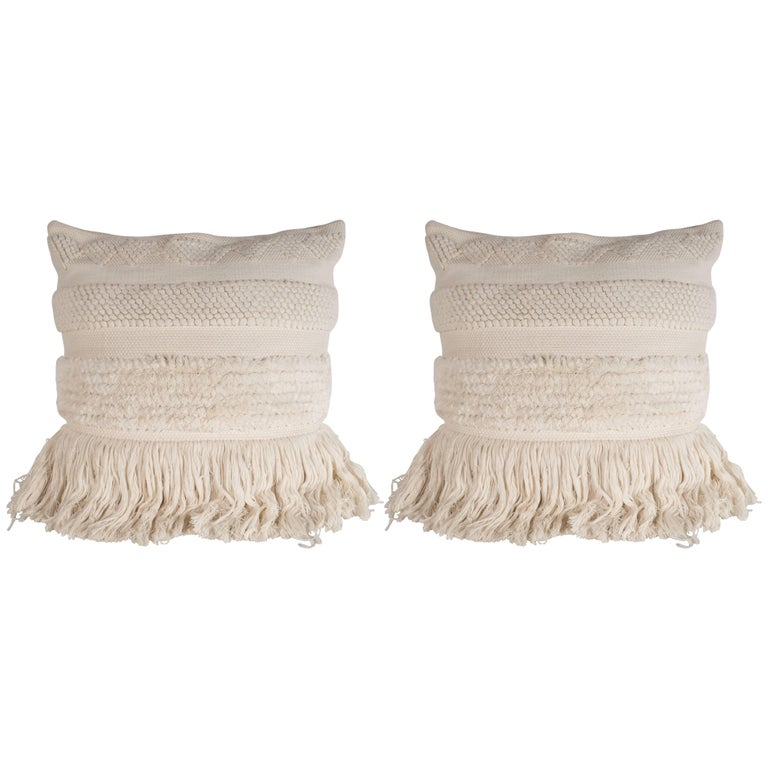 Pair of Modernist Textured Woven Pillows in a Bone Hue