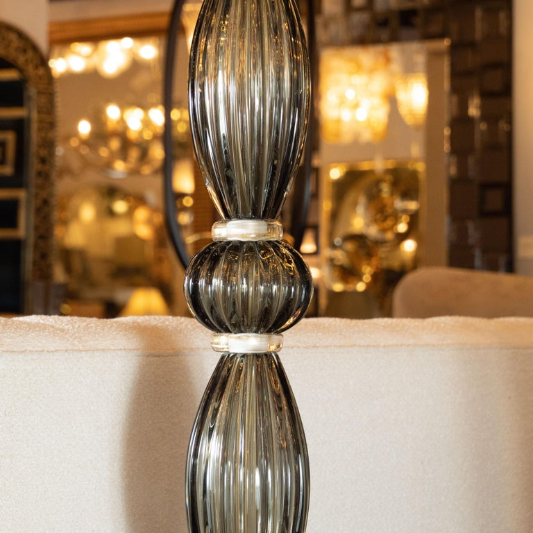 Pair of Modernist Torchieres in Smoked Handblown Murano Glass In Excellent Condition For Sale In New York, NY