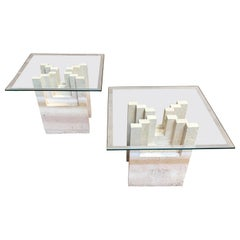 Pair of Modernist Travertine Table Bases