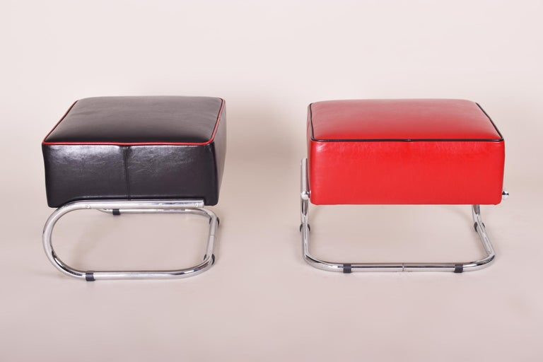 Modernist Art Deco chrome tabourettes. Completely restored, New upholstery and leather.  We guarantee safe a the cheapest air transport from Europe to the whole world within 7 days. The price is the same as for ship transport but delivery time is