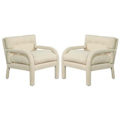 Pair of Modernist Upholstered Parlor Armchairs