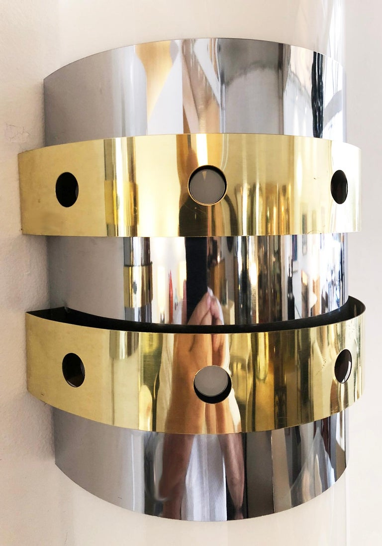 Hand-Crafted Pair of Modernist Wall Sconces, 1970s For Sale