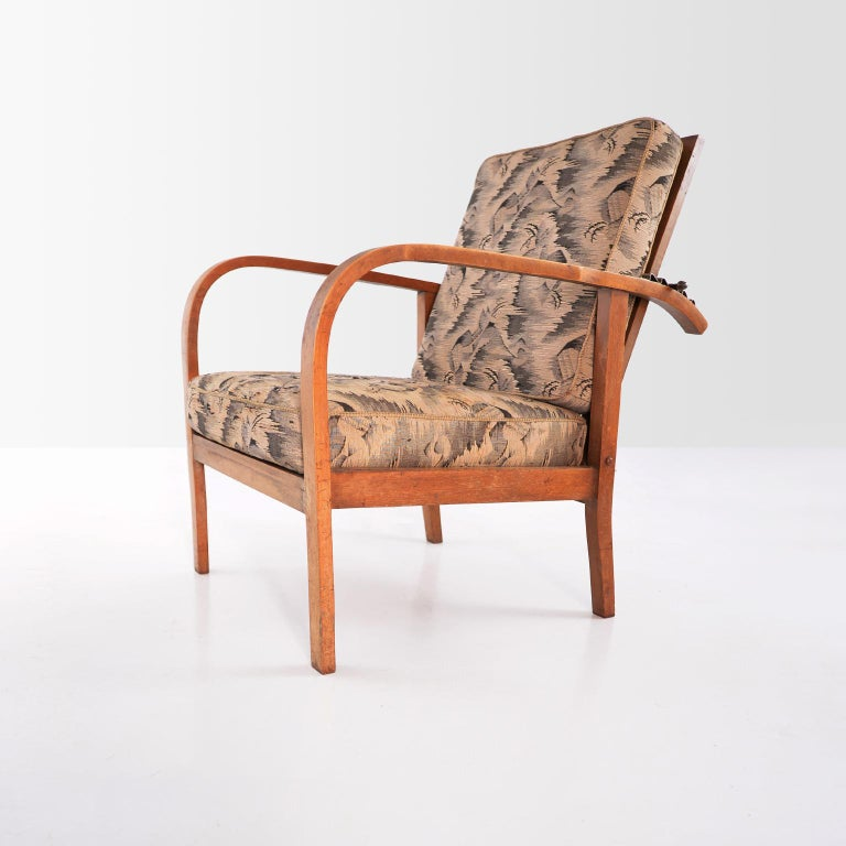 Hand-Crafted Pair of Modernist Wooden Armchairs by Jan Vaněk, Original Upholstery, circa 1935 For Sale
