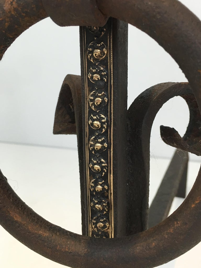 Pair of Modernist Wrought Iron and Brass Andirons, French, circa 1900 For Sale 14