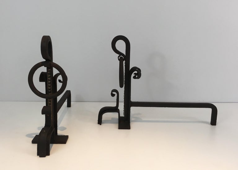 Early 20th Century Pair of Modernist Wrought Iron and Brass Andirons, French, circa 1900 For Sale