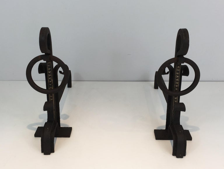 Pair of Modernist Wrought Iron and Brass Andirons, French, circa 1900 For Sale 1