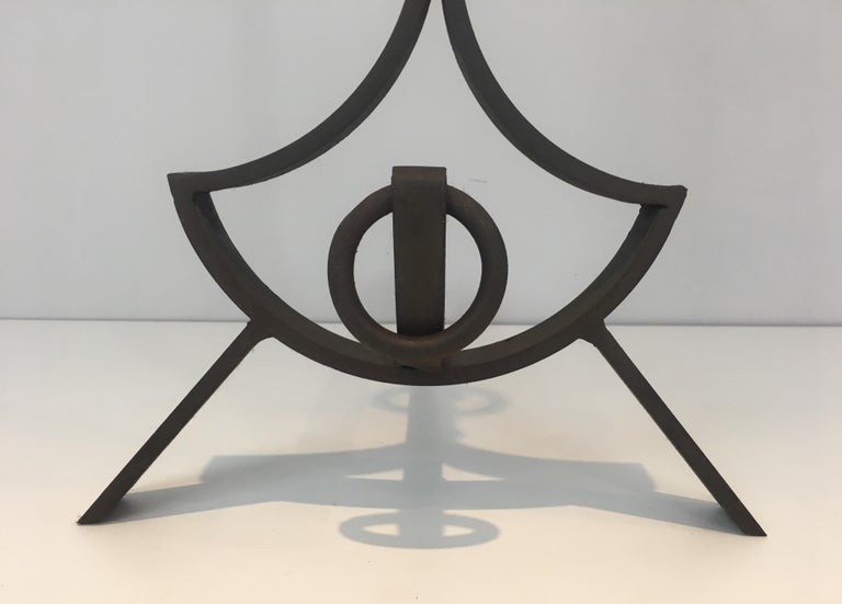 Pair of Modernist Wrought Iron Andirons, French, circa 1940 For Sale 6