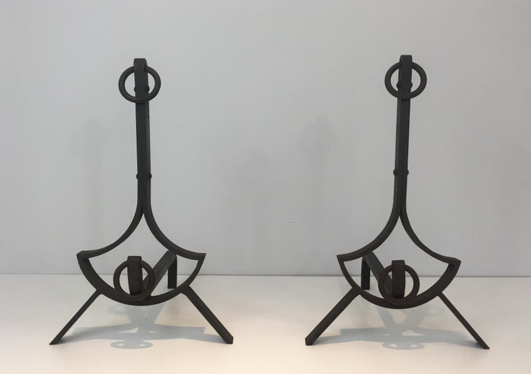 Pair of Modernist Wrought Iron Andirons, French, circa 1940 For Sale 7