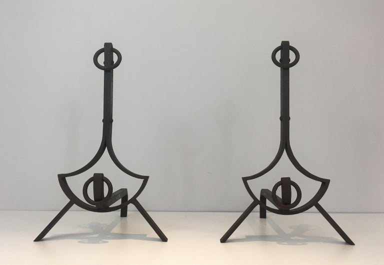 Pair of Modernist Wrought Iron Andirons, French, circa 1940 For Sale 12