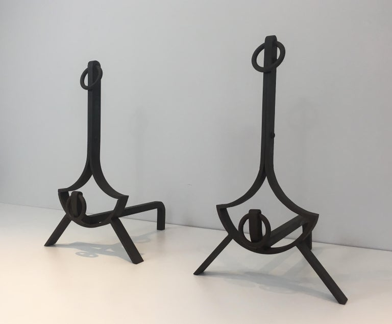 Pair of Modernist Wrought Iron Andirons, French, circa 1940 For Sale 13
