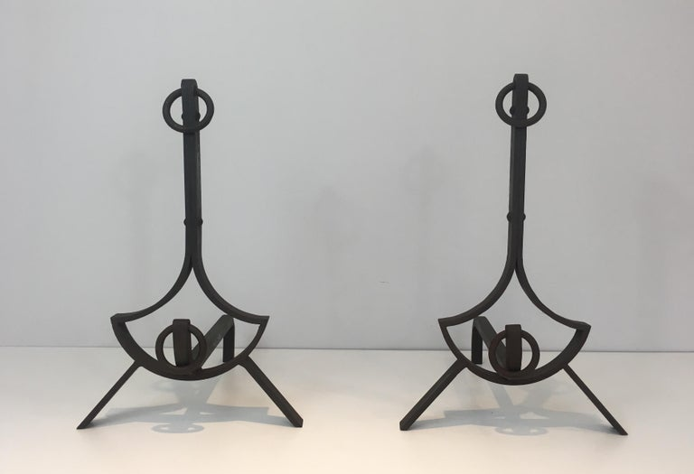 Pair of Modernist Wrought Iron Andirons, French, circa 1940 For Sale 14