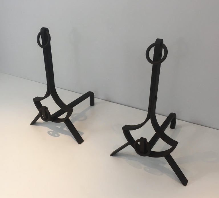 Pair of Modernist Wrought Iron Andirons, French, circa 1940 For Sale 15
