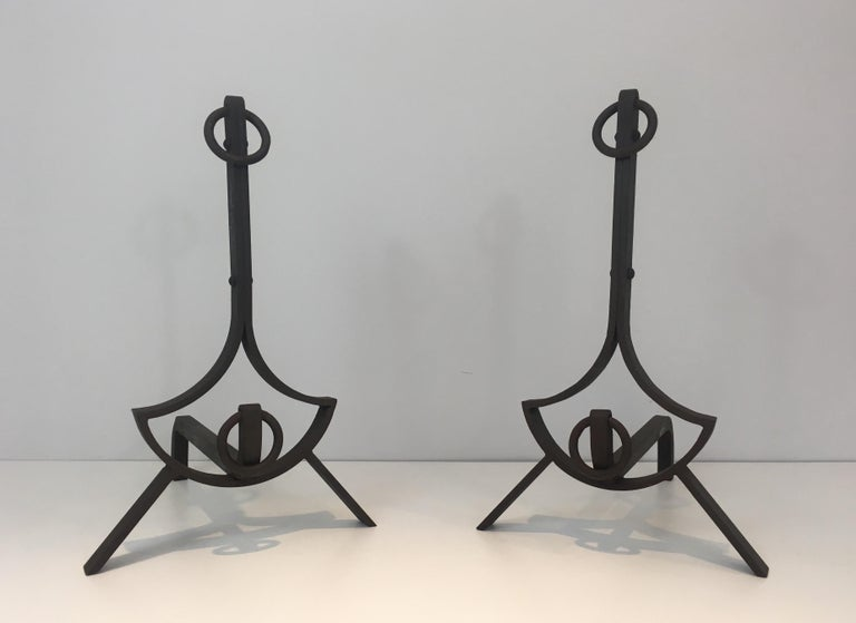 Mid-Century Modern Pair of Modernist Wrought Iron Andirons, French, circa 1940 For Sale