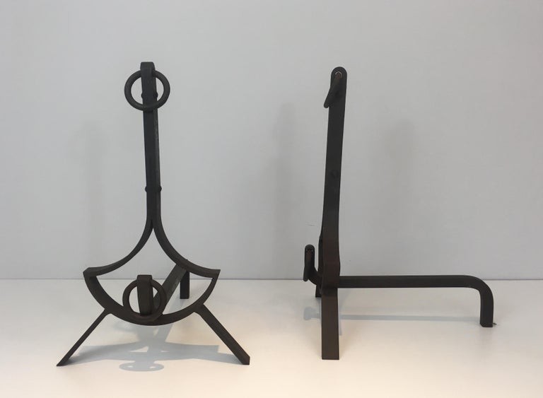 Mid-20th Century Pair of Modernist Wrought Iron Andirons, French, circa 1940 For Sale