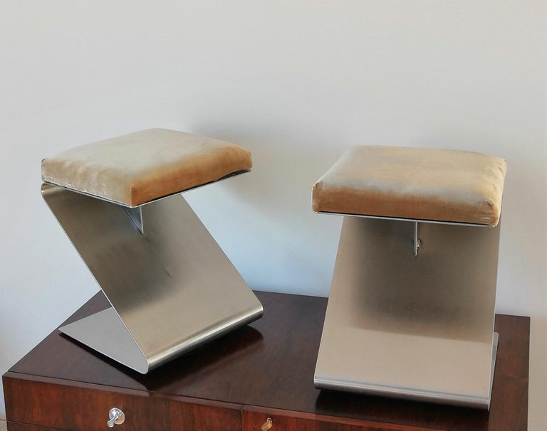 French Pair of Modernist Z Shaped Stools Attributed to M. Boyer, France 1970s