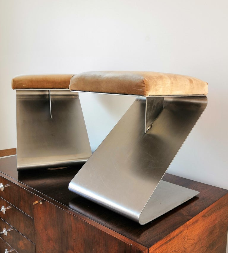 Stainless Steel Pair of Modernist Z Shaped Stools Attributed to M. Boyer, France 1970s