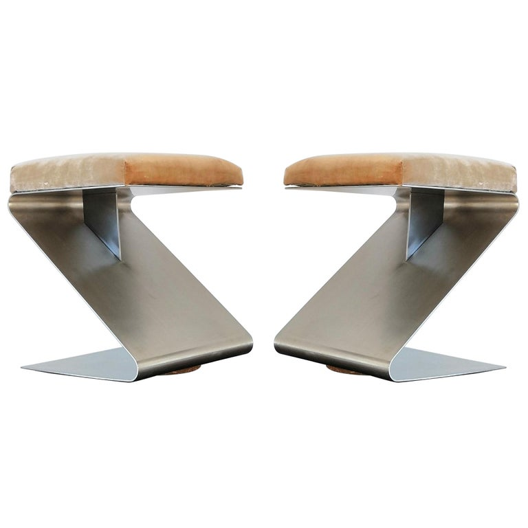 Pair of Modernist Z Shaped Stools Attributed to M. Boyer, France 1970s
