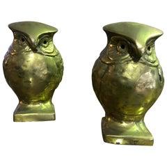 Pair of Modernists Midcentury Heavy Bronze Owls Bookends Sculptures
