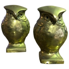 Pair of Modernists Mid-Century Modern Heavy Bronze Owls Bookends Sculptures