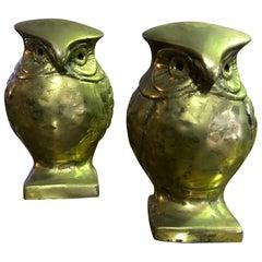 Pair of Modernists Mid-Century Modern Heavy Bronze Owls Bookends Sculptures