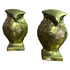Pair of Modernists Midcentury Heavy Bronze Owls Bookends Sculptures