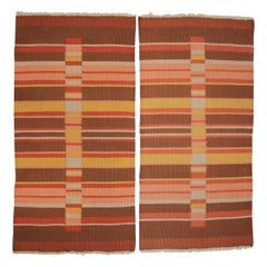 Pair of Modernsit Geometric Antonín Kybal Small Carpets/Rugs, 1950s