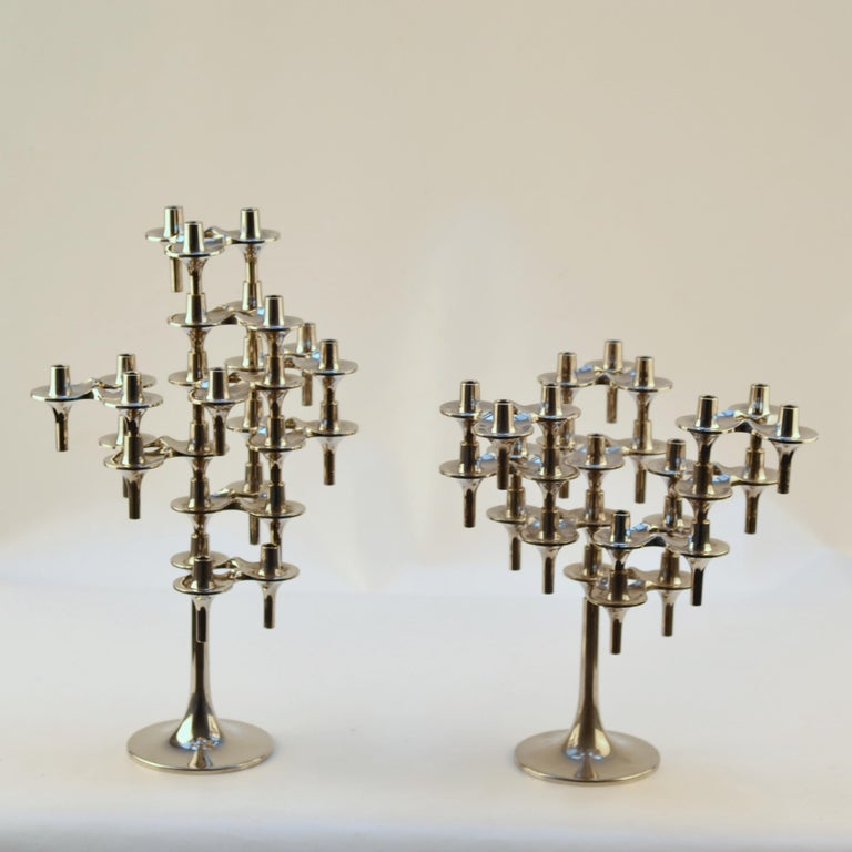 Mid-Century Modern Pair of Modular Orion Candelabras by Nagel, 1960's For Sale