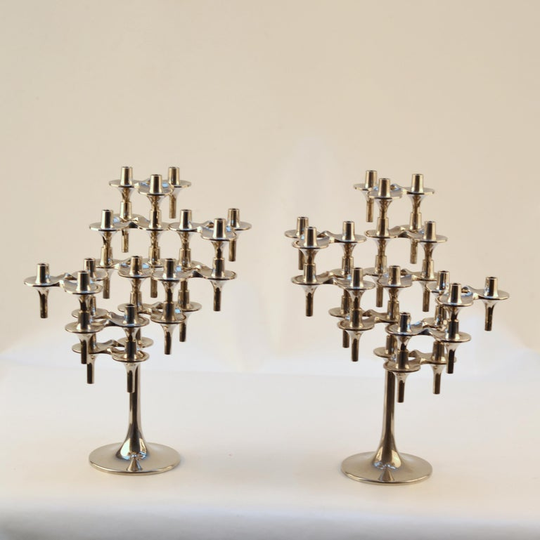 German Pair of Modular Orion Candelabras by Nagel, 1960's For Sale
