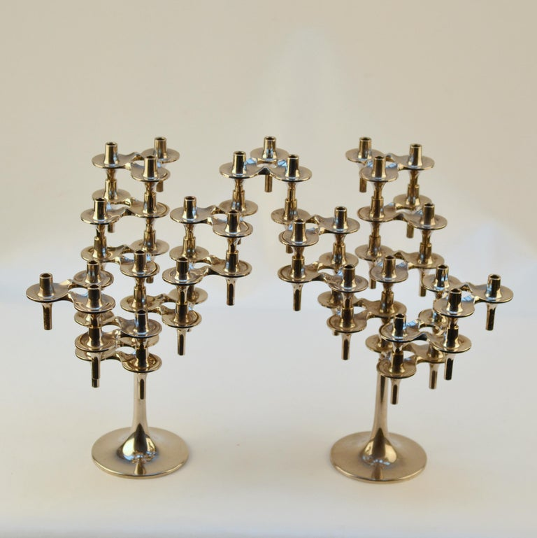 Pair of Modular Orion Candelabras by Nagel, 1960's In Excellent Condition For Sale In London, GB