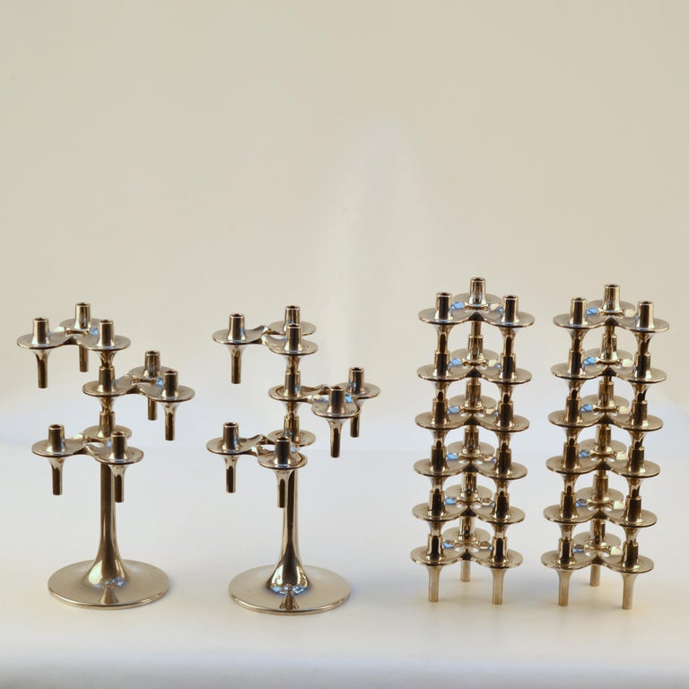 Mid-20th Century Pair of Modular Orion Candelabras by Nagel, 1960's For Sale