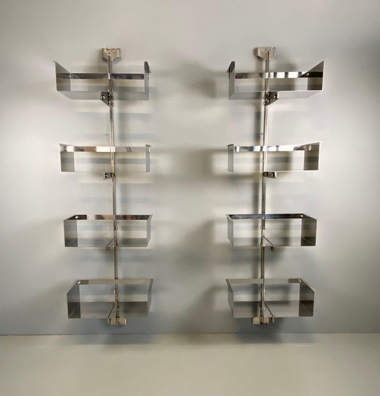 Pair of Modular Wall-Mounted Shelving System by Vittorio Introini for Saporiti For Sale 4