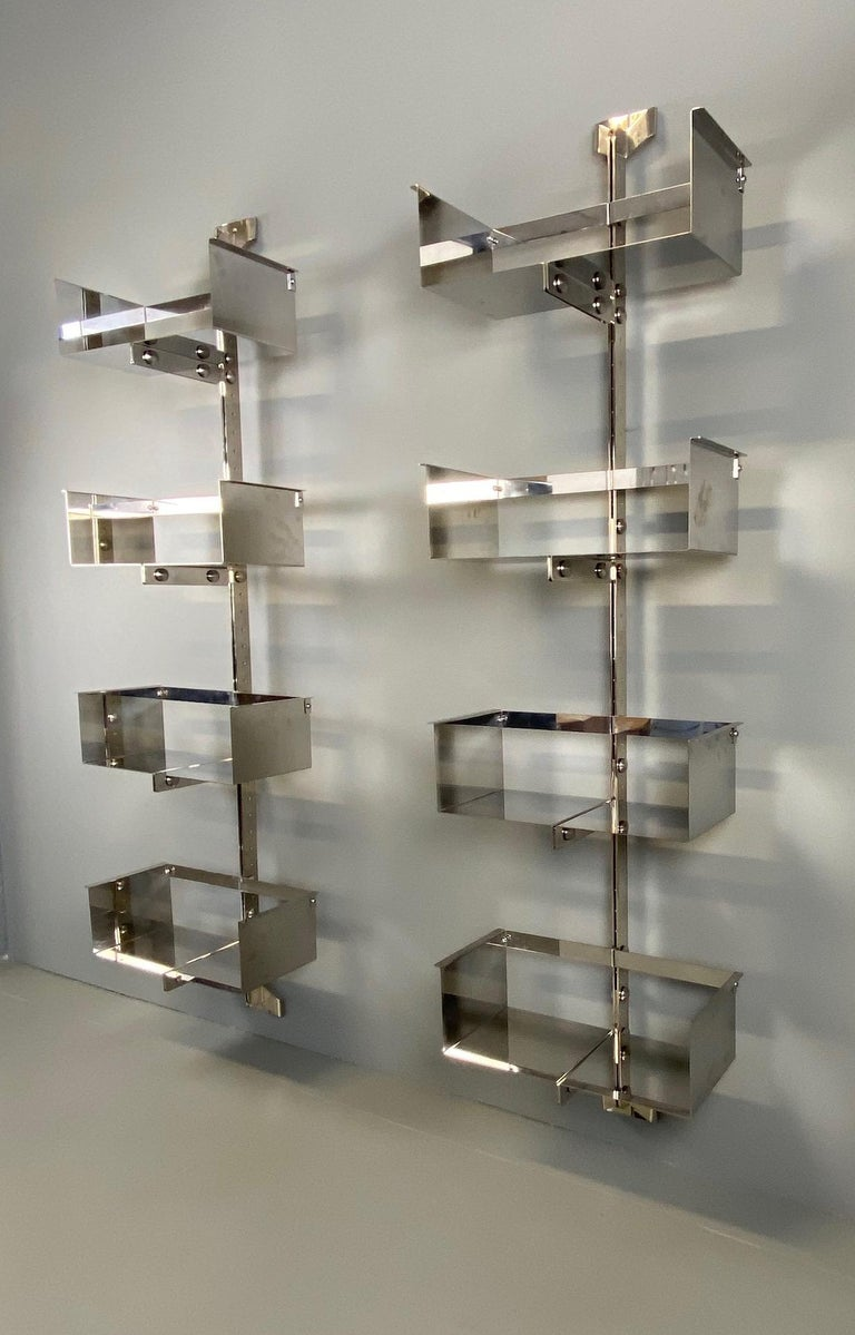 Pair of Modular Wall-Mounted Shelving System by Vittorio Introini for Saporiti For Sale 5