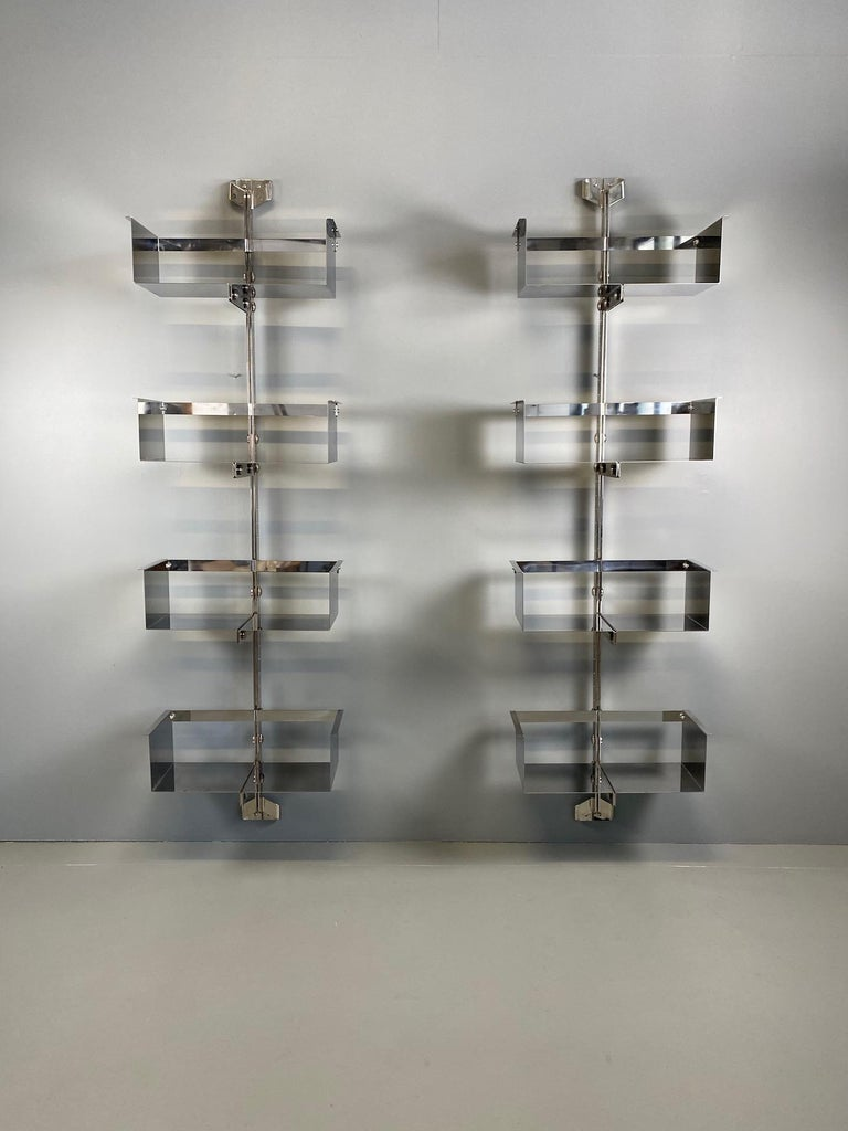 Mid-Century Modern Pair of Modular Wall-Mounted Shelving System by Vittorio Introini for Saporiti For Sale