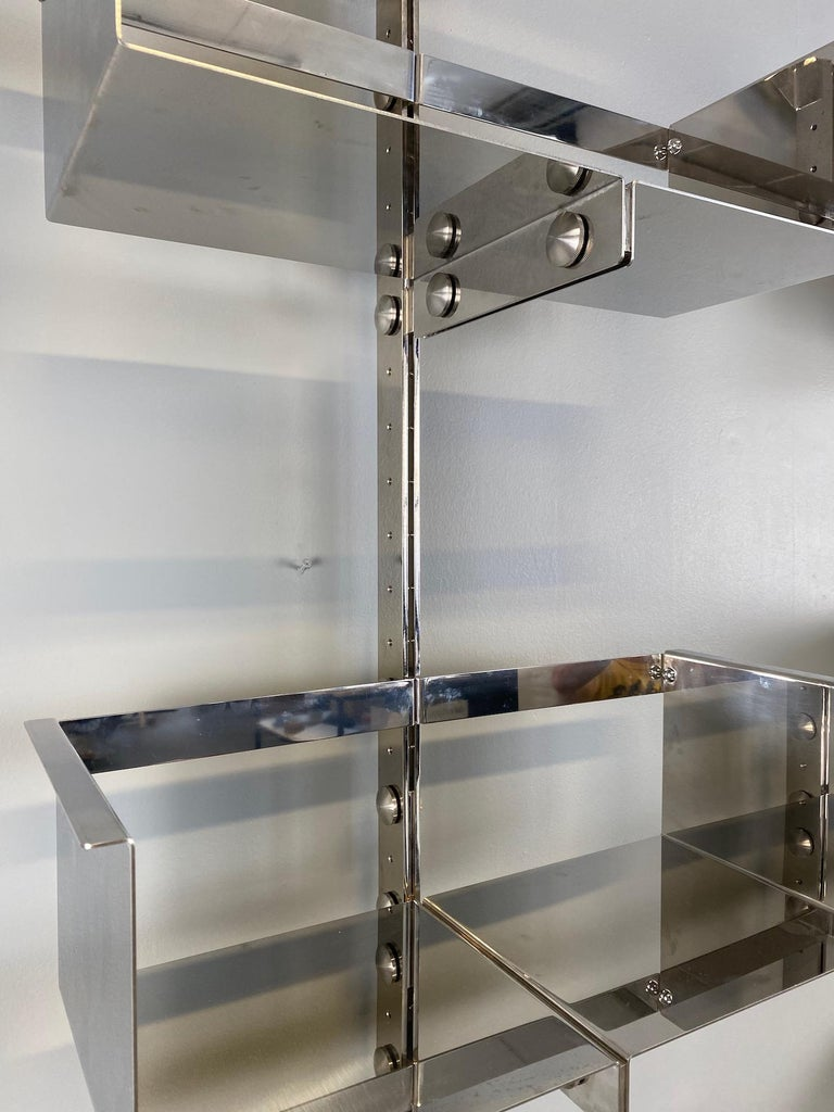 Stainless Steel Pair of Modular Wall-Mounted Shelving System by Vittorio Introini for Saporiti For Sale