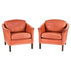 Pair of Mogens Hansen Danish Mid-Century Leather Lounge Chairs