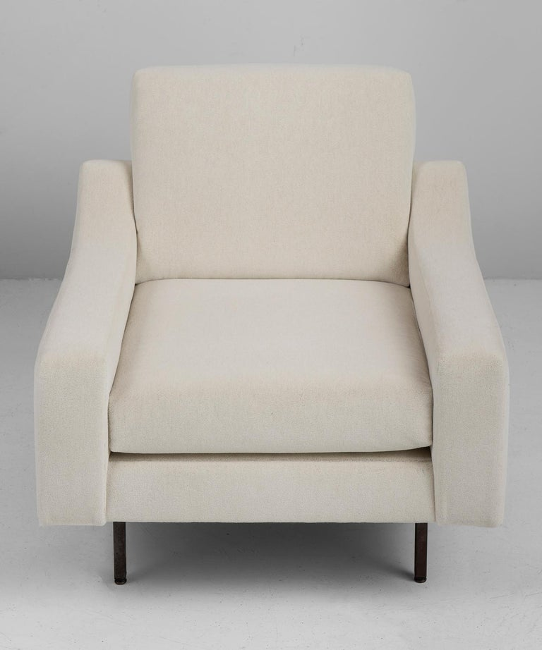 French Pair of Mohair Armchairs by ISA, Italy, circa 1950 For Sale