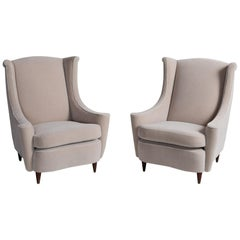 Pair of Mohair Armchairs, Italy 1960