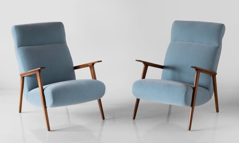 Pair of mohair and cherrywood armchairs, Italy, circa 1960.  Sleek modern forms, newly upholstered in Maharam mohair with original hardwood arms and legs.
