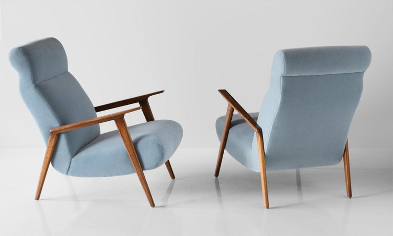 Mid-Century Modern Pair of Mohair and Cherrywood Armchairs, Italy, circa 1960 For Sale