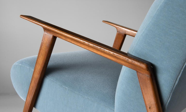 20th Century Pair of Mohair and Cherrywood Armchairs, Italy, circa 1960 For Sale