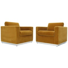 Pair of Mohair Club Chairs Ward Bennett for Brickel