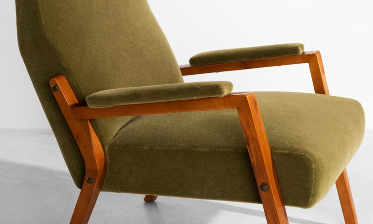 Mid-20th Century Pair of Mohair Lounge Chairs, Italy, circa 1960 For Sale