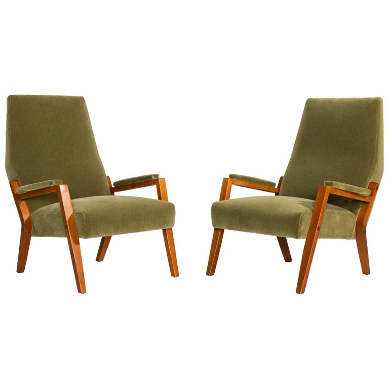 Pair of Mohair Lounge Chairs, Italy, circa 1960 For Sale