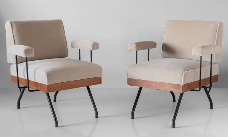 Pair of mohair, metal, and wood modern armchairs, Italy circa 1960.  Dynamic modern form, newly upholstered in mohair fabric by Maharam.