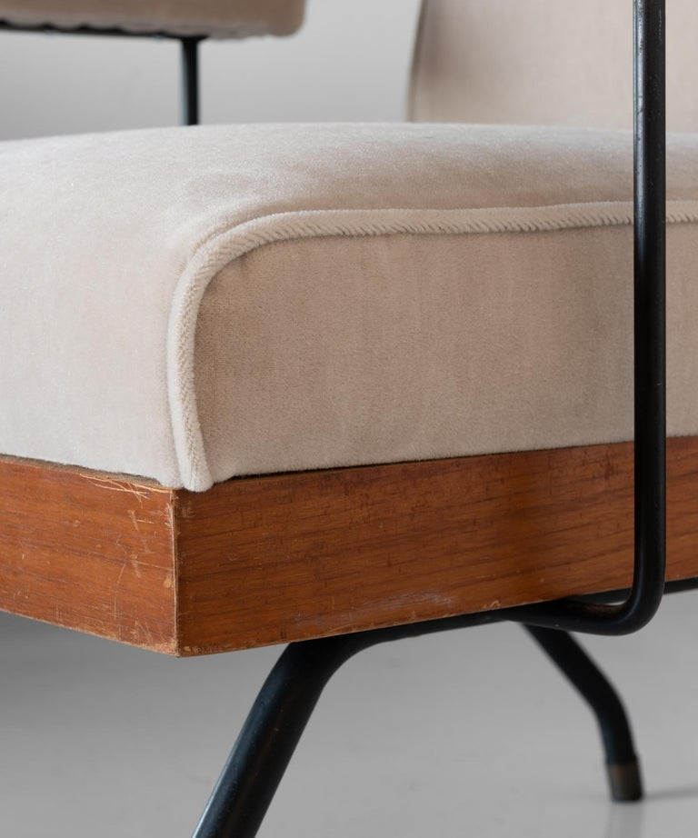 Pair of Mohair, Metal, and Wood Modern Armchairs, Italy, circa 1960   For Sale 1