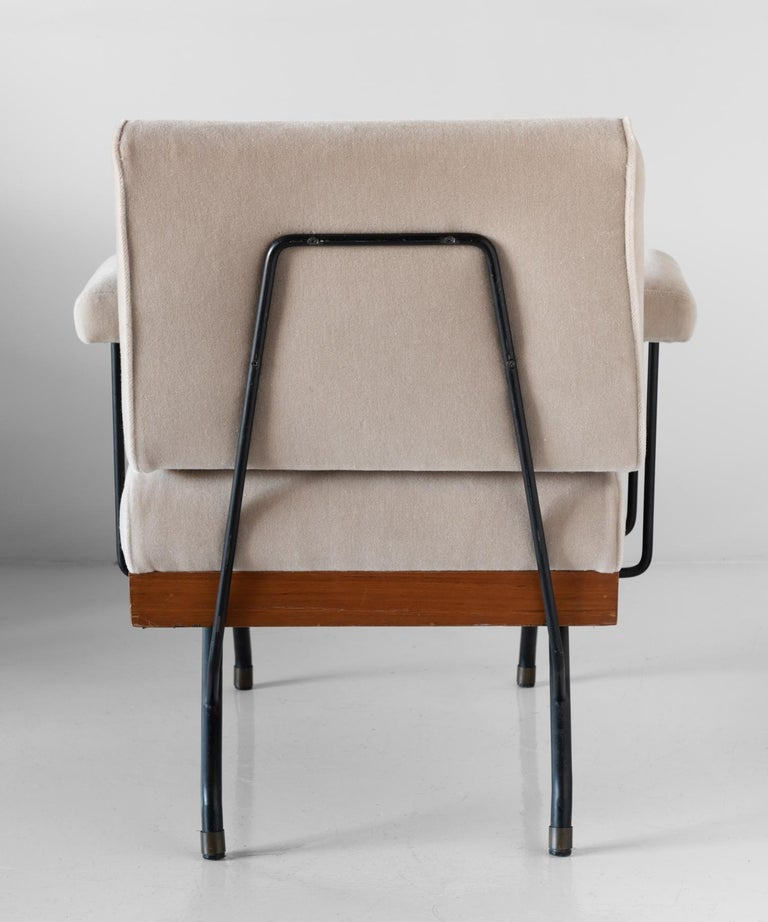 Mid-20th Century Pair of Mohair, Metal, and Wood Modern Armchairs, Italy, circa 1960   For Sale