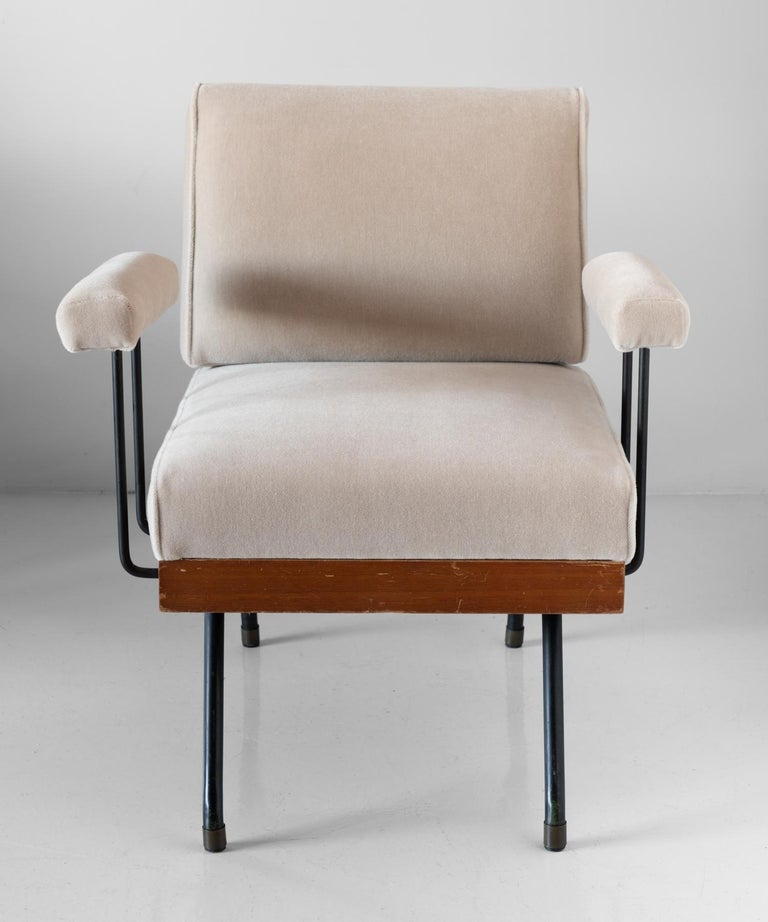 Pair of Mohair, Metal, and Wood Modern Armchairs, Italy, circa 1960   In Good Condition For Sale In Culver City, CA