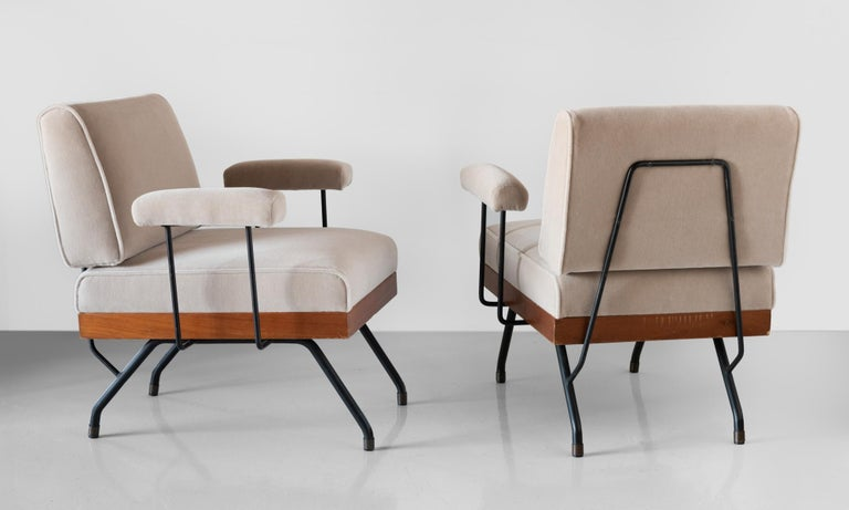 Italian Pair of Mohair, Metal, and Wood Modern Armchairs, Italy, circa 1960   For Sale